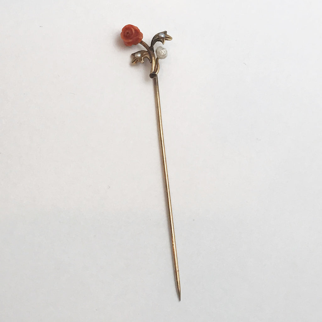 Victorian Stick Pin or Lapel Pin. 10K Yellow Gold with Coral Flower and Pearl.