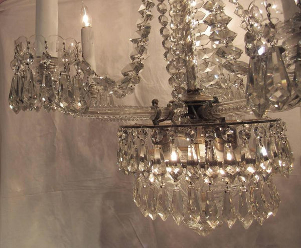 Large Unusual Crystal Chandelier, Early 20th Century