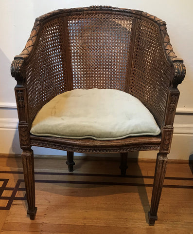 French Bergere Chain Double Cane Back and Seat. Louis XVI Revival. 19th C