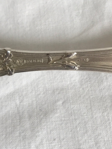 Cold Meat Fork. Sterling Silver Alving Old Orange Blossom. G monogram. 9""