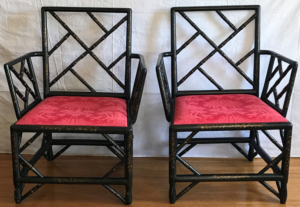 Pair of Armchairs. English Chinoiserie Black Lacquer and Gold Late 19th Century