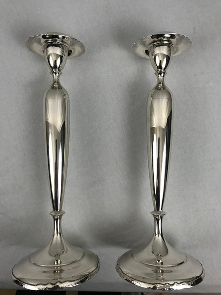 "Pair Sterling Silver Candlesticks by Shreve & Co. 12.5"" Height"