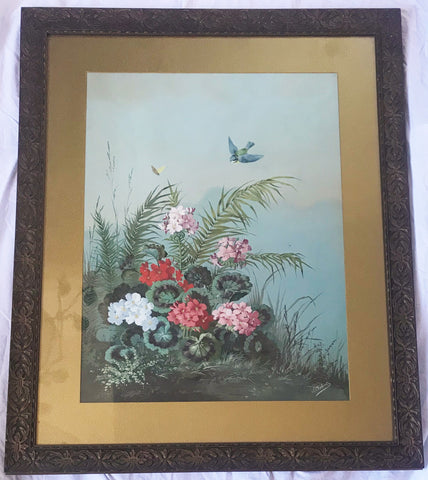 Joseph Chabert (1831-1894) Original Gouache of Flowers with Butterfly. French