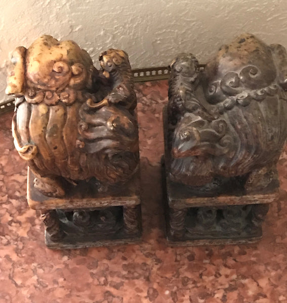 "Pair of Chinese Carved Hardstone Seal Chop Foo Dogs. 9"" height"