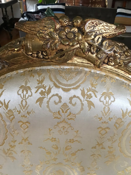 Pair of European Gold Gesso Upholstered Art Chairs. 19th Century