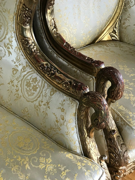 Pair of European Gold Gesso Upholdersted Art Chairs. 19th Century