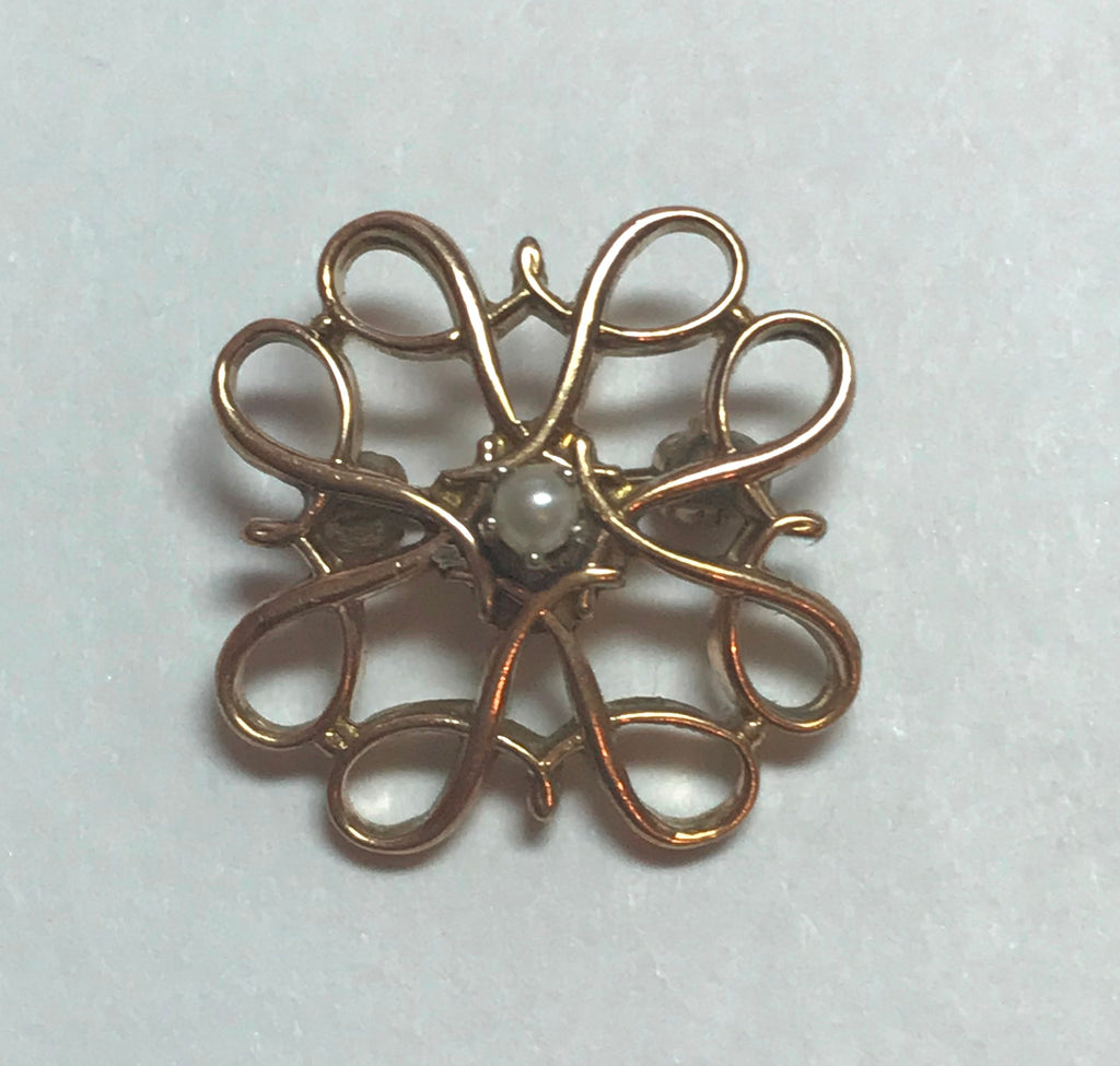 Small Lapel Pin or Brooch. 10k Yellow Gold and Pearl