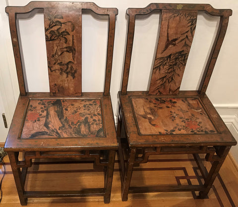 Mid century Chinese lacquer arm chairs