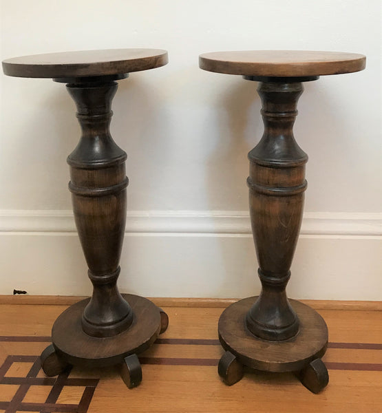 Pair of mahogany wood plant stands. Circa 1900