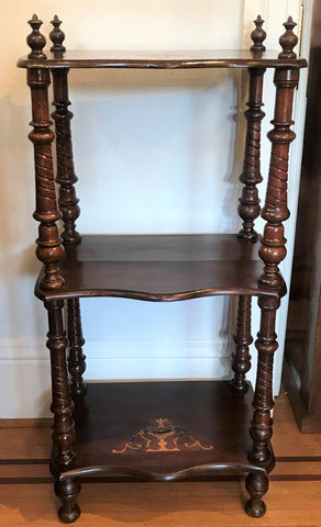 Etegere shelves Victorian walnut with inlaid satin wood.