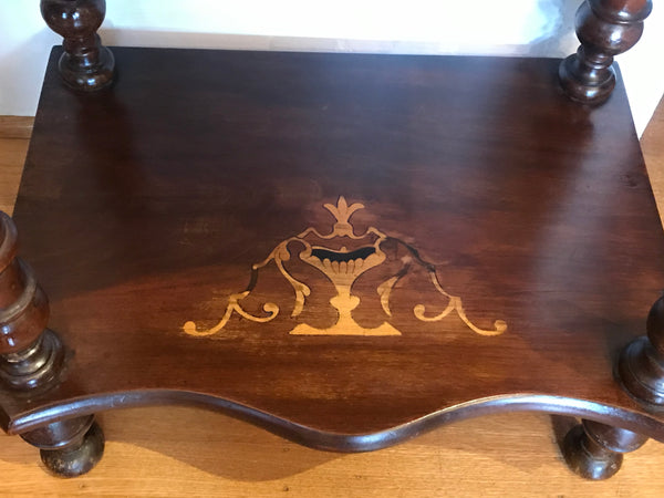 Three Shelf Victorian Etegere. Dark Walnut Inlaid with Satinwood. Circa 1900