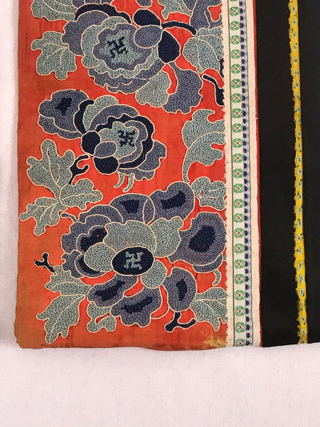Pair of Chinese Embroidery Sleeves. Peking Knot Forbidden Stitch. Qing Dynasty