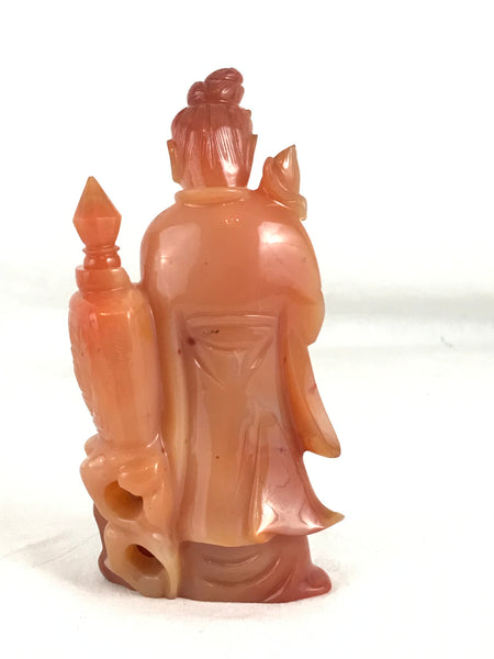 Chinese Carved Carnelian Carving of Guan Yin (Kwan Yin) with Bottle. 5.5""