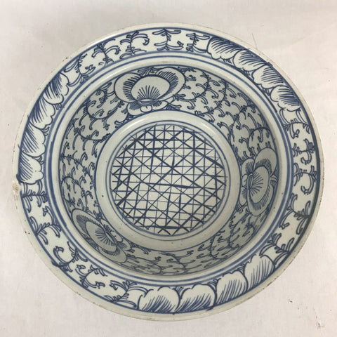 "Large Chinese Porcelain Blue and White Bowl. Late Qing. 11-5/8"" diameter."