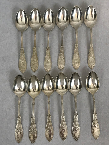 12 Teaspoons. Whiting Sterling Silver Arabesque pattern. Monogrammed. 5-5/8""
