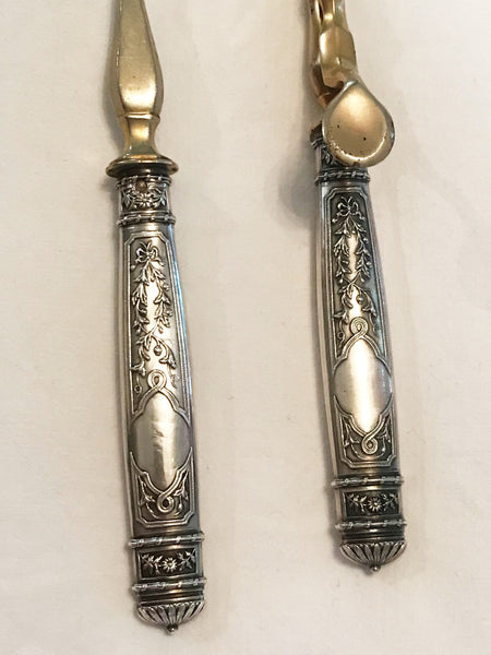 19th Century French Silver Ice Tongs and Ladle Cased Set