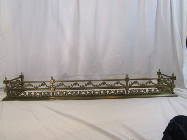 French Brass Fireplace Fender 19th Century. Pierced Grapes and Leaves