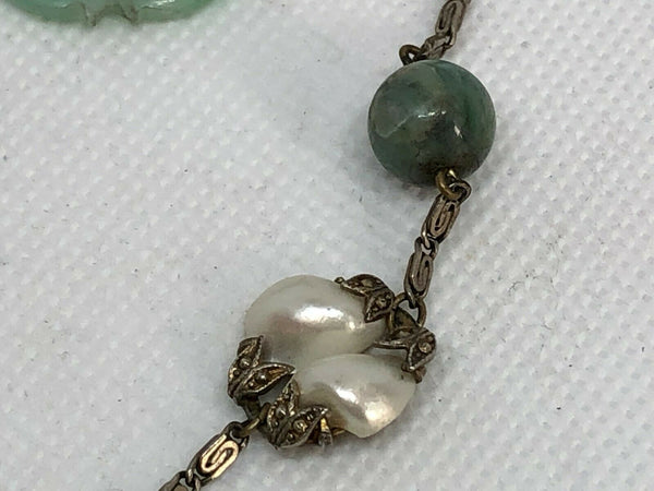 Chinese Jade, Baroque Pearls, Necklace, Earring Set, Sterling Silver, Republic