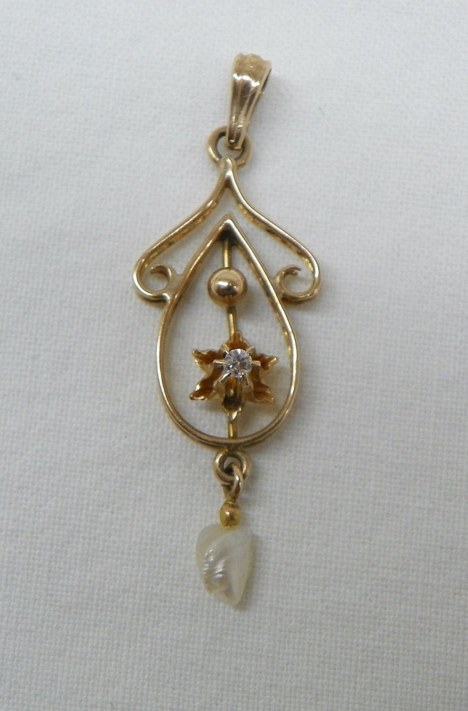 Lavalier Pendant. 10k Yellow Gold, .02 Diamond, and Small Pearl Drop