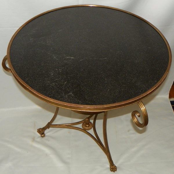 Modern Circular Side Table. Brass Frame with Granite Top. 20th Century