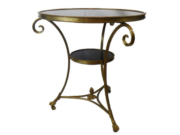 Circular side table brass marble 20th century