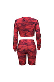 jumper,Casual Round Neck Camouflage Printed Red - Snapup247