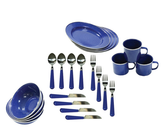 Gifts,Enamel Camping 24-Piece Tableware Set - Snapup247