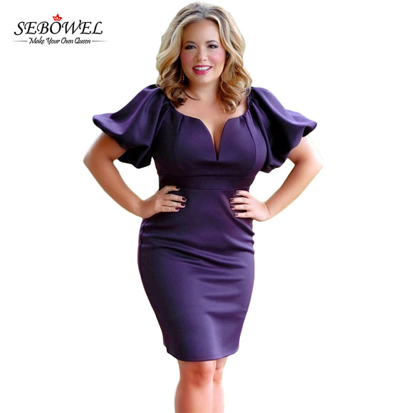 Dress,Purple Bell Sleeve Plus Size Dress - Snapup247