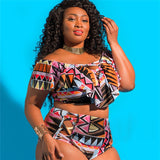 Swim Suite,Ruffle Lattice Plus Size Swimwear Bikini - Snapup247