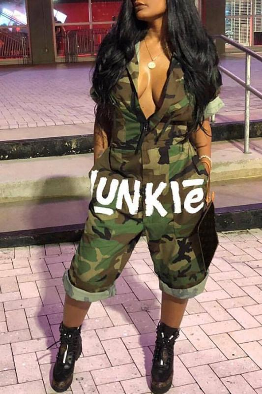 jumper,Camouflage Print Green One-piece Jumpsuit - Snapup247