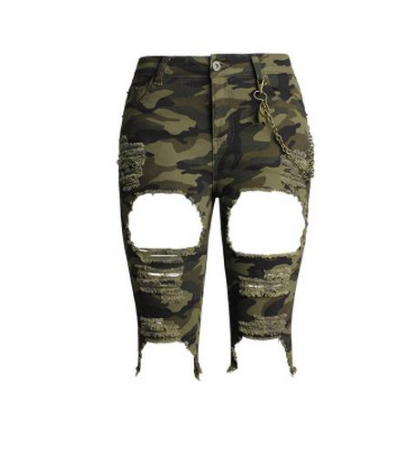 Shorts,2017 Womens High Waist Ripped Stretch Camouflage Shorts Military Summer Hole Female Short Plus Size Skinny Army Shorts K181 - Snapup247