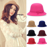 Hats,Fashion Solid Women Fedora Hat Vintage Wool Bow Knot Winter Warm Caps Casual Elegant Ladies Party Beach Sun Hat Chapeau Femme F2 - Snapup247
