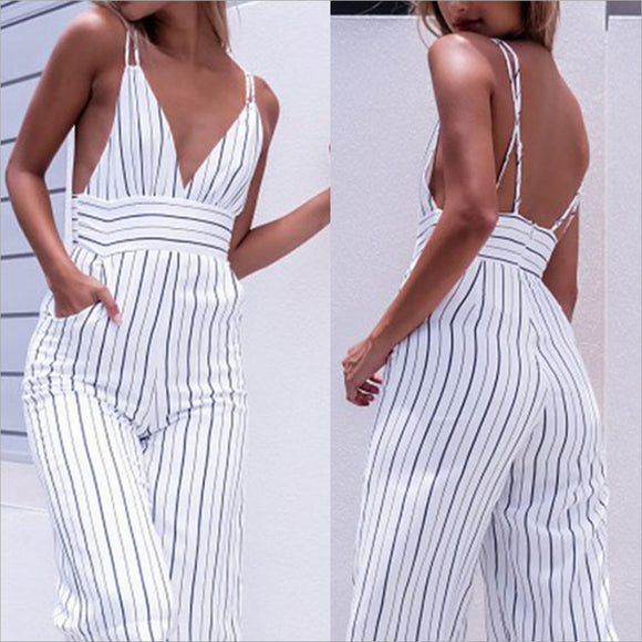 jumper,Striped Women Bodycon V-Neck Sleeveless Backless Jumpsuit - Snapup247