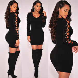 Dress,Bodycon Pencil Dresses For Women, Tie Up Sleeve Party Pencil Dress - Snapup247