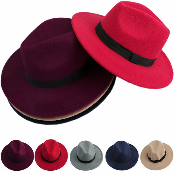 Hats,Women Jazz Bowknot Hard Felt Fedora Gangster Hat - Snapup247