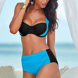 Swim Suite,Two Pieces Black and Blue High Waisted Bikini Swimsuit Sexy - Snapup247