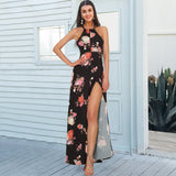 Dress,Simplee Halter Backless Long Floral Summer Dress - Snapup247