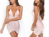 BeAvant Ruched Sexy  Pink Backless Bodycon Summer Dress
