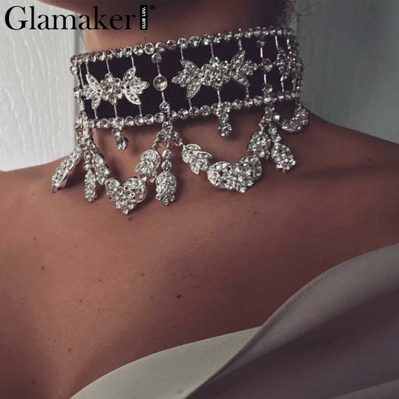 Necklace,Glamaker Ladies  Rhinestone Choker Necklace With Luxury Crystal Laced - Snapup247