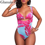 Swim Suite,Palm Print halter backless two-piece Swim Suits - Snapup247