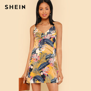 Dress,SHEIN New Cami Printed Summer Tropical Floral V Neck Dress - Snapup247
