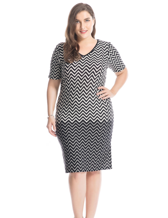 Dress,Chicwe Women's Plus Size Zigzag Printed Dress V-Neck Short Sleeves US16-26 - Snapup247