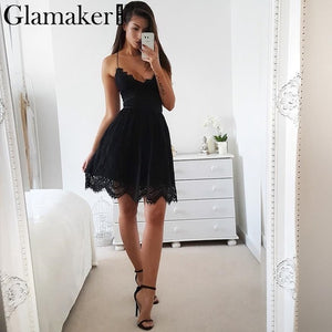 Dress,Glamaker Sexy backless fringe lace mini dress Women lace up strap v neck summer sundress Female party club white dress vestidos - Snapup247