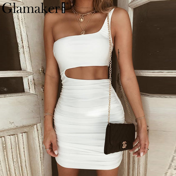 Dress,Glamaker Sexy one shoulder Strap Summer Party Dress with Pleated High Waist - Snapup247