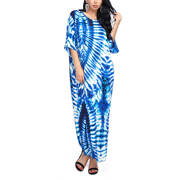 Dress,Women Beach Dress Summer Vestidos Casual Maxi Long Dresses Fashion Loose Half Sleeve Print Ladies Blue Dress Plus size - Snapup247