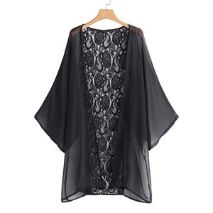 Kimonos,2018 Summer Kimono Cardigan Celmia Sexy  Beach Cover Up Women Floral Embroidery Lace Tops Casual Loose Swimwear Chiffon Blouses - Snapup247