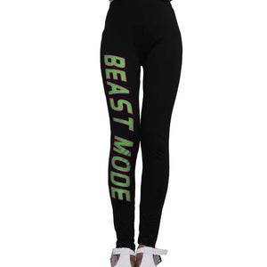 Yoga Gear,Women Letters Beast Mode Printed Slim Leggings Sexy Stretch Elastic Sports Joggings - Snapup247