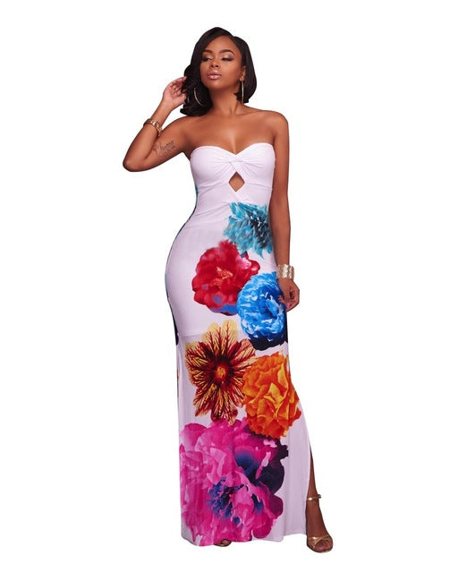 Dress,Plus Size Longo Festa Sexy Women White Blue Floral Print Strapless Ruched Maxi Bodycon Dress Side Slit Backless Long Dresses - Snapup247