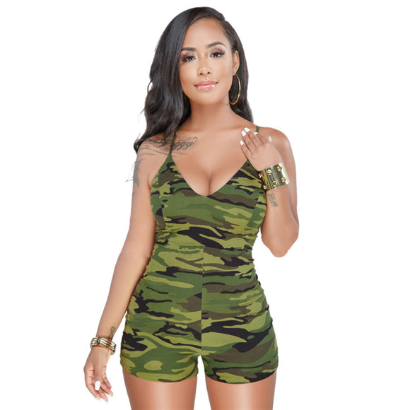 Shorts,Fashion Casual Camouflage Playsuits Jumpsuit Women's Summer Sexy Backless Lace-up Spaghetti Strap Shorts Rompers Plus Size 3XL - Snapup247
