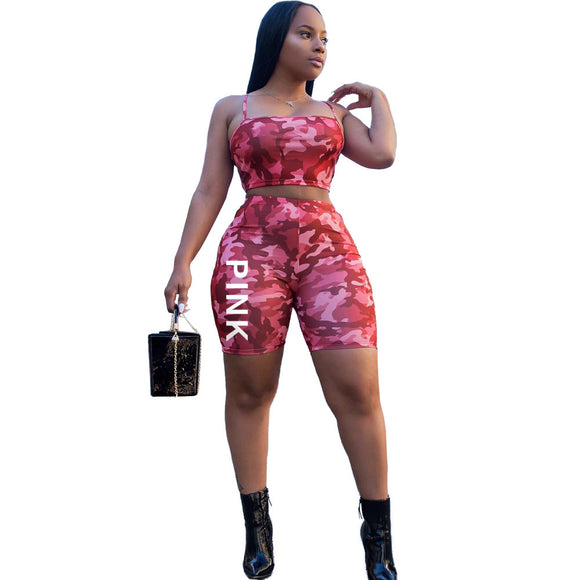 Shorts,VAZN 2018 Casual Fashion Popular 2018 Women 2 Piece Set Camouflage Strapless Mini Tops Short Pants Skinny Plus Size Set 9012# - Snapup247